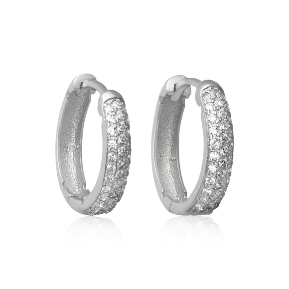 EZ-7048 Pavé Set CZ Huggie Earrings | Teeda