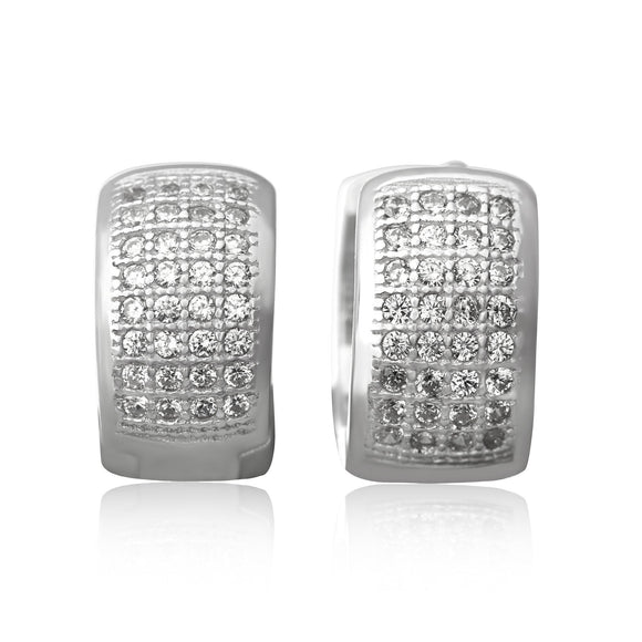 EZ-7049 Wide Micropavé CZ Huggie Earrings