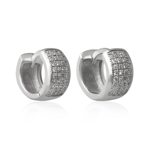 EZ-7049 Wide Micropavé CZ Huggie Earrings | Teeda