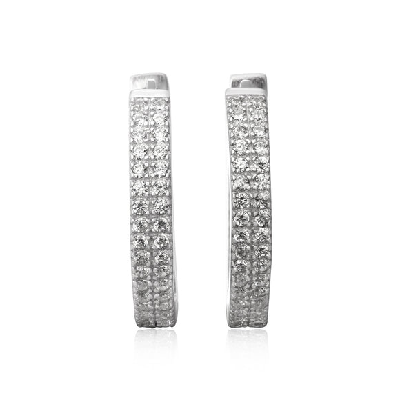 EZ-7051 Nouveau Cubic Zirconia Huggie Earrings