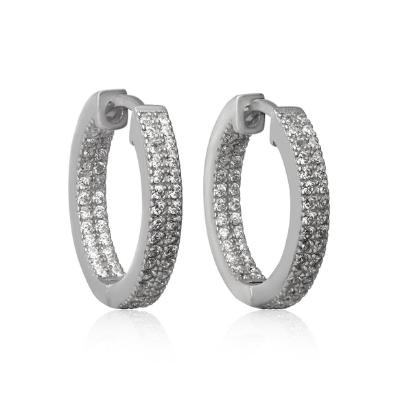 EZ-7051 Nouveau Cubic Zirconia Huggie Earrings | Teeda