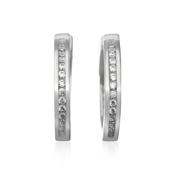 EZ-7052 Channel Set CZ Huggie Earrings