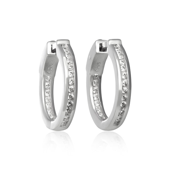 EZ-7052 Channel Set CZ Huggie Earrings | Teeda