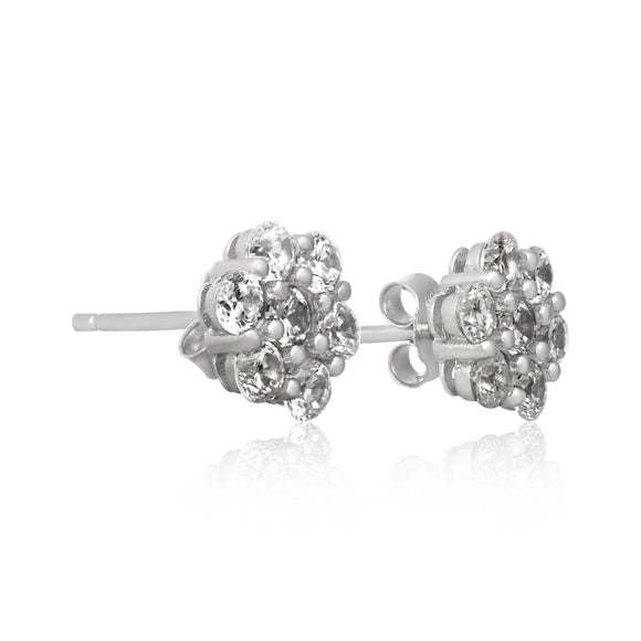EZ-7055 8mm Cluster Cubic Zirconia Stud Earrings