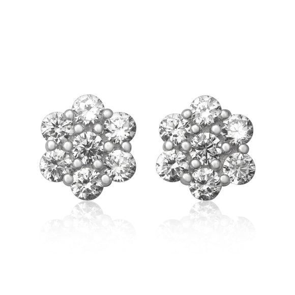 EZ-7055 8mm Cluster Cubic Zirconia Stud Earrings | Teeda