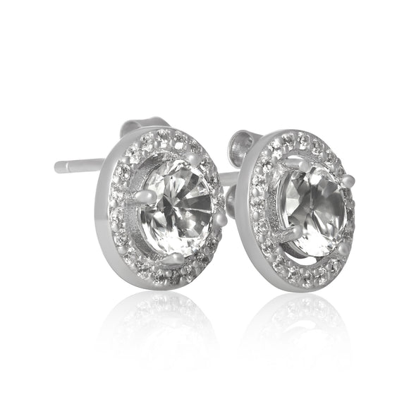 EZ-7056 Round Halo Cubic Zirconia Post Earrings