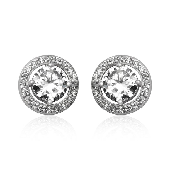EZ-7056 Round Halo Cubic Zirconia Post Earrings | Teeda