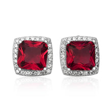 EZ-7057 Cushion Cut Halo CZ Post Earrings - Ruby | Teeda