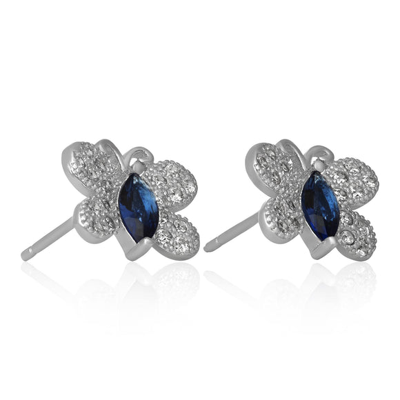 EZ-7058 Butterfly Micropavé CZ Earrings - Blue Sapphire | Teeda