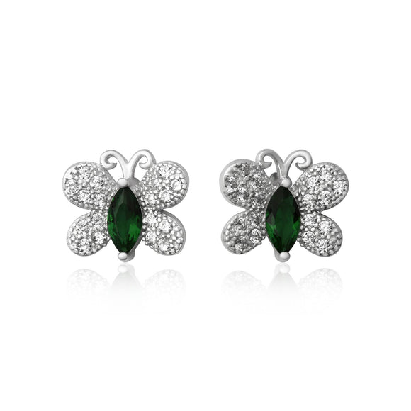 EZ-7058 Butterfly Micropavé CZ Earrings - Emerald | Teeda