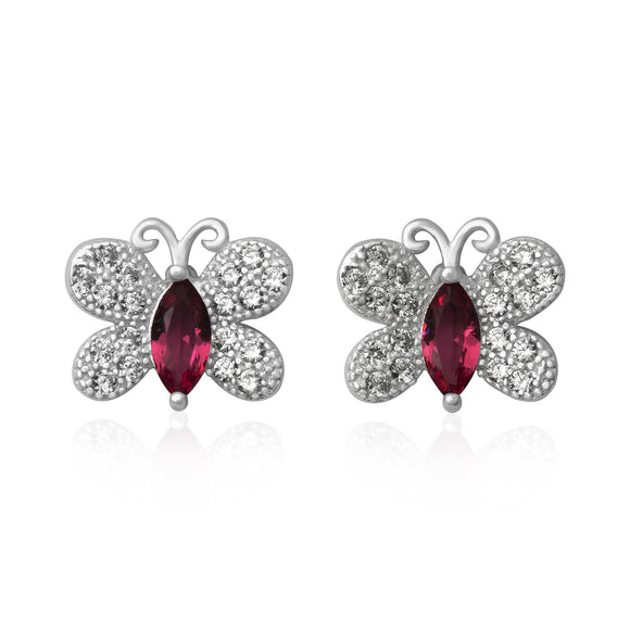 EZ-7058 Butterfly Micropavé CZ Earrings - Ruby | Teeda
