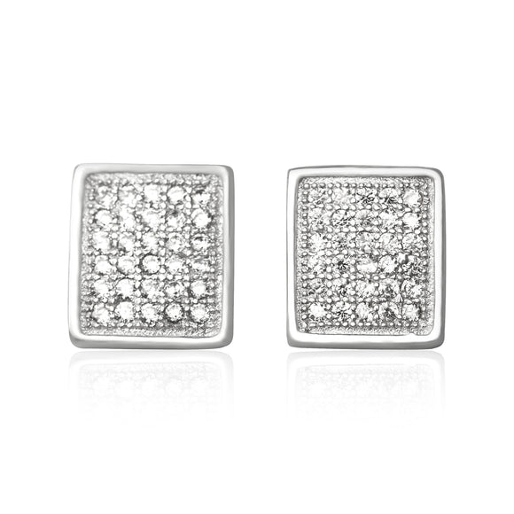 EZ-7060 Square Micropavé Cubic Zirconia Earrings