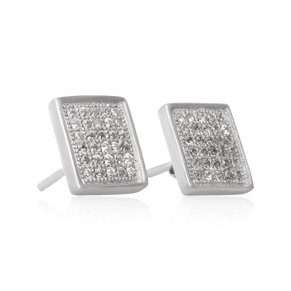 EZ-7060 Square Micropavé Cubic Zirconia Earrings | Teeda
