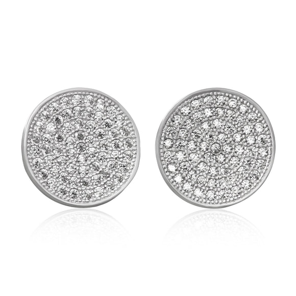 EZ-7061 Disc Micropavé Cubic Zirconia Earrings