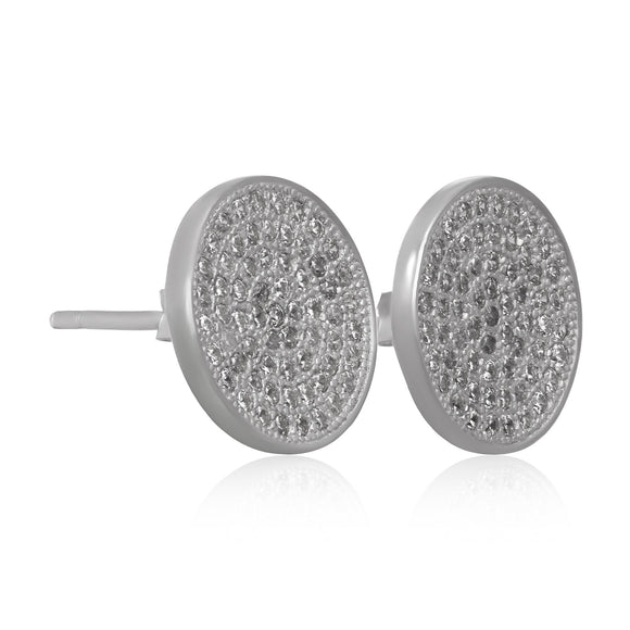 EZ-7061 Disc Micropavé Cubic Zirconia Earrings | Teeda
