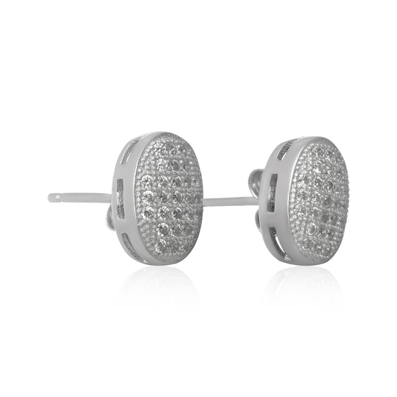EZ-7064 Oval Micropavé Cubic Zirconia Earrings