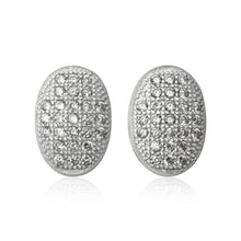 EZ-7064 Oval Micropavé Cubic Zirconia Earrings | Teeda