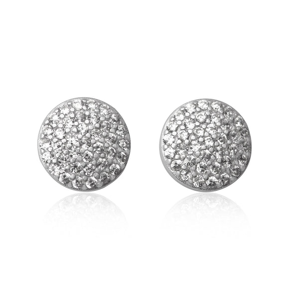 EZ-7065 Pavé Disc Cubic Zirconia Earrings