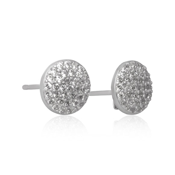 EZ-7065 Pavé Disc Cubic Zirconia Earrings | Teeda