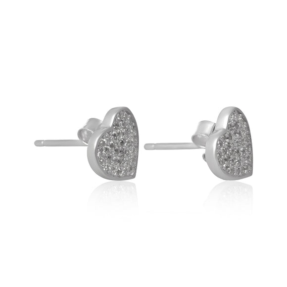 EZ-7066 Pavé Heart Cubic Zirconia Earrings