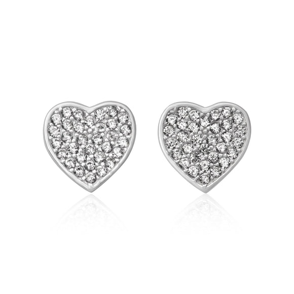 EZ-7066 Pavé Heart Cubic Zirconia Earrings | Teeda