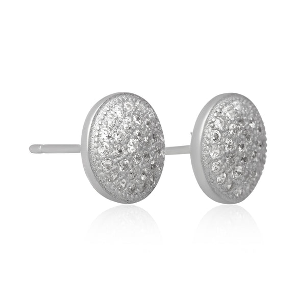 EZ-7067 Pavé Disc Cubic Zirconia Earrings
