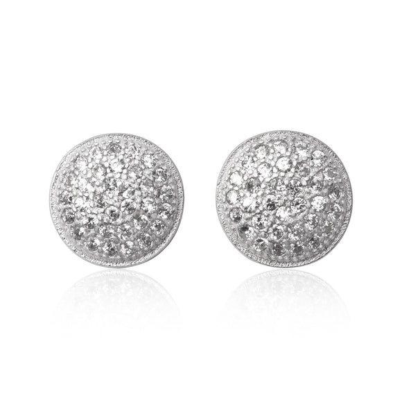 EZ-7067 Pavé Disc Cubic Zirconia Earrings | Teeda