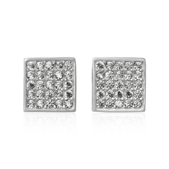 EZ-7068 Pavé Square Cubic Zirconia Earrings