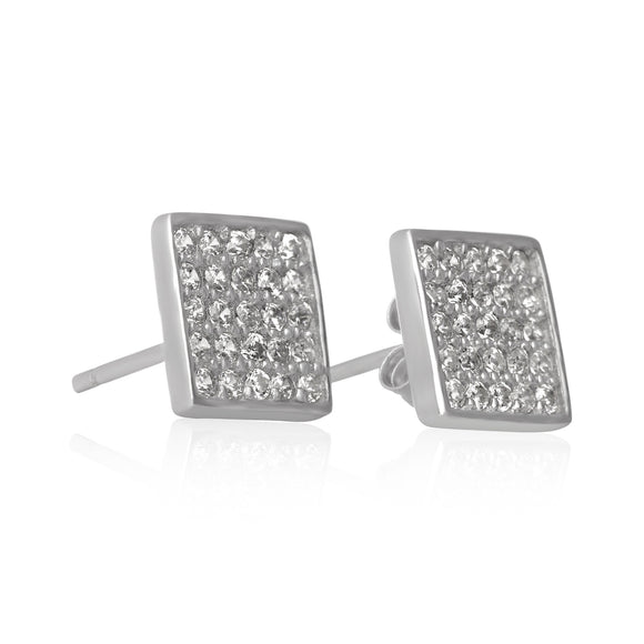EZ-7068 Pavé Square Cubic Zirconia Earrings | Teeda