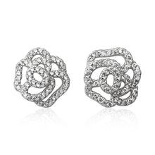 EZ-7069 Pavé Rose Cubic Zirconia Earrings | Teeda