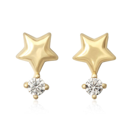 EZ-7070 Puffy Star with CZ Stud Earrings - Gold Plated | Teeda