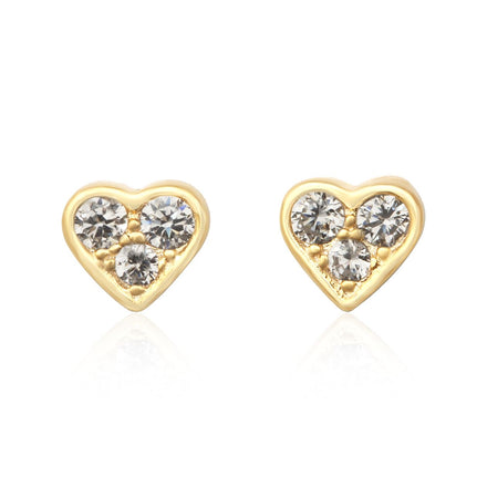 EZ-7071 3 Stone Heart CZ Stud Earrings - Gold Plated | Teeda