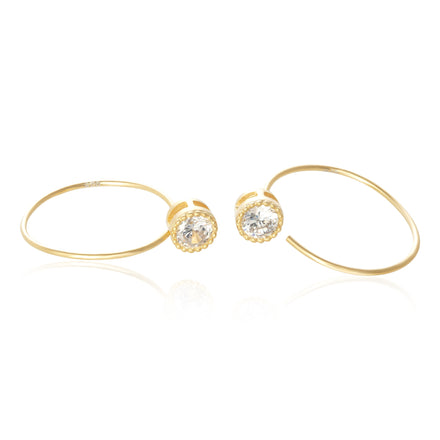 EZ-7072 Milgrain Round CZ Ear Wires - Gold Plated | Teeda