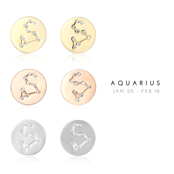 EZ-7073 Aquarius Zodiac Constellation CZ Disc Stud Earrings | Teeda