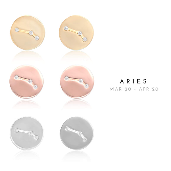 EZ-7073 Aries Zodiac Constellation CZ Disc Stud Earrings | Teeda
