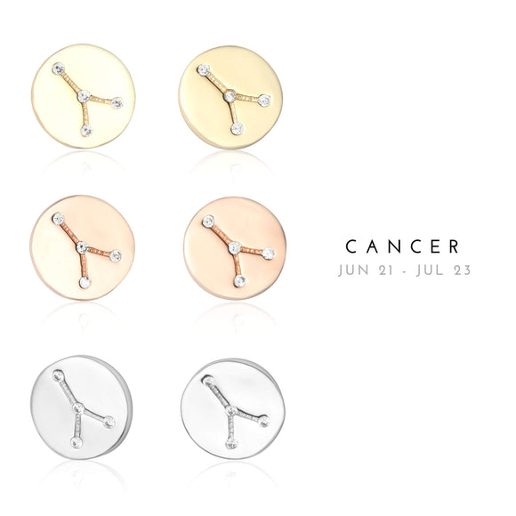 EZ-7073 Cancer Zodiac Constellation CZ Disc Stud Earrings | Teeda