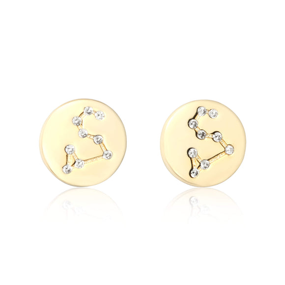 EZ-7073 Zodiac Constellation CZ Disc Stud Earrings - Gold Plated - Aquarius | Teeda