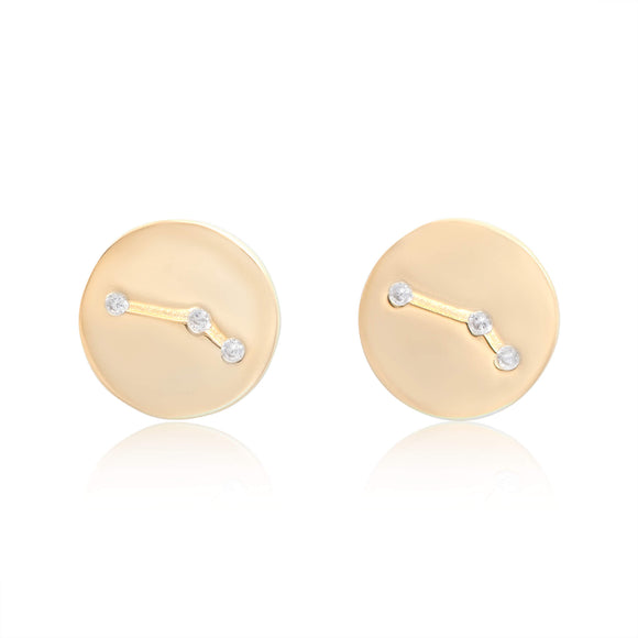 EZ-7073 Zodiac Constellation CZ Disc Stud Earrings - Gold Plated - Aries | Teeda