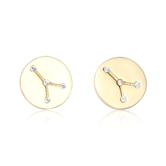 EZ-7073 Zodiac Constellation CZ Disc Stud Earrings - Gold Plated - Cancer | Teeda