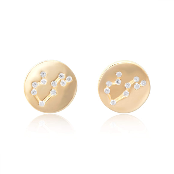 EZ-7073 Zodiac Constellation CZ Disc Stud Earrings - Gold Plated - Leo | Teeda