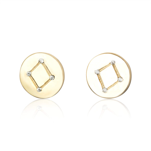 EZ-7073 Zodiac Constellation CZ Disc Stud Earrings - Gold Plated - Libra | Teeda