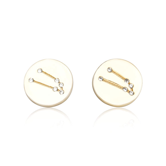 EZ-7073 Zodiac Constellation CZ Disc Stud Earrings - Gold Plated - Taurus | Teeda