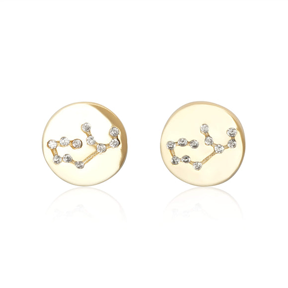 EZ-7073 Zodiac Constellation CZ Disc Stud Earrings - Gold Plated - Virgo | Teeda