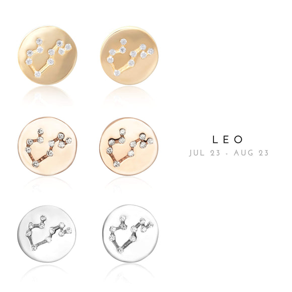EZ-7073 Leo Zodiac Constellation CZ Disc Stud Earrings | Teeda