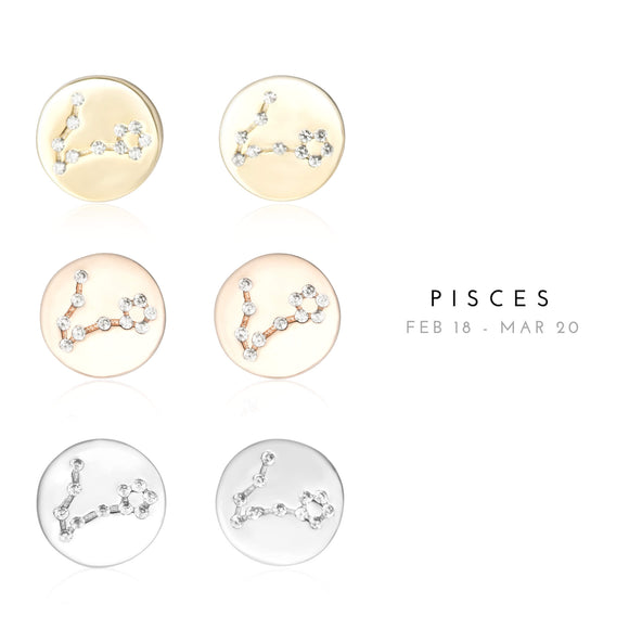 EZ-7073 Pisces Zodiac Constellation CZ Disc Stud Earrings | Teeda