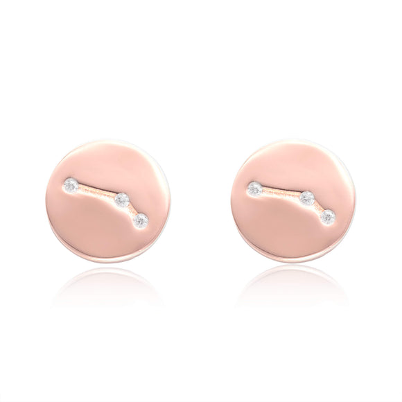 EZ-7073 Zodiac Constellation CZ Disc Stud Earrings - Rose Gold Plated - Aries | Teeda