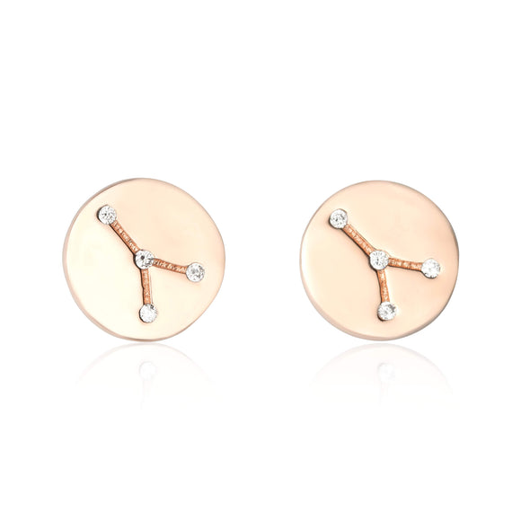 EZ-7073 Zodiac Constellation CZ Disc Stud Earrings - Rose Gold Plated - Cancer | Teeda
