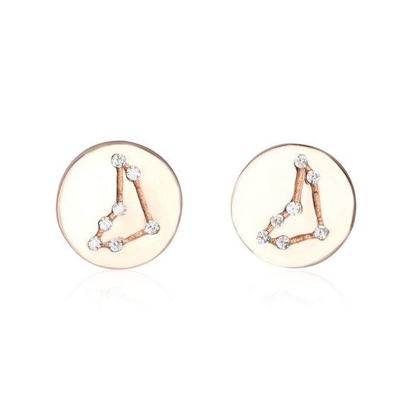 EZ-7073 Zodiac Constellation CZ Disc Stud Earrings - Rose Gold Plated - Capricorn | Teeda