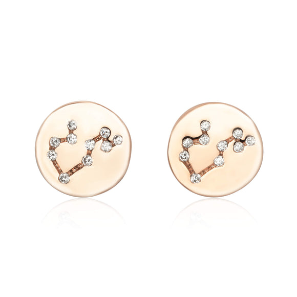 EZ-7073 Zodiac Constellation CZ Disc Stud Earrings - Rose Gold Plated - Leo | Teeda