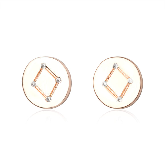 EZ-7073 Zodiac Constellation CZ Disc Stud Earrings - Rose Gold Plated - Libra | Teeda